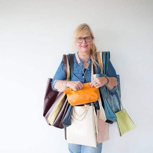 Minimalist bag designer at her 29 Palms studio